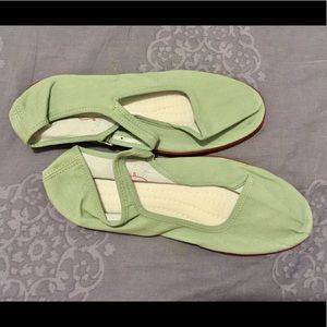Light green cotton Mary Jane shoes